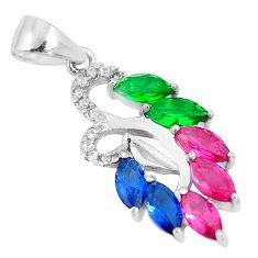Red ruby (lab) emerald lab sapphire lab topaz 925 silver pendant jewelry c23505