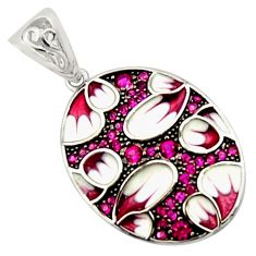 1.47cts red ruby (lab) enamel 925 sterling silver pendant jewelry c9832