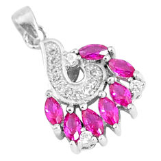 1.98cts red ruby (lab) topaz 925 sterling silver pendant jewelry c26127