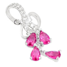 1.78cts red ruby (lab) white topaz 925 sterling silver pendant jewelry c23496