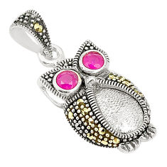 Red ruby quartz marcasite 925 sterling silver owl pendant jewelry c17122