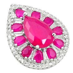 Red ruby quartz topaz 925 sterling silver pendant jewelry c19906