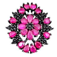 Red ruby quartz topaz black rhodium 925 sterling silver pendant jewelry c19064