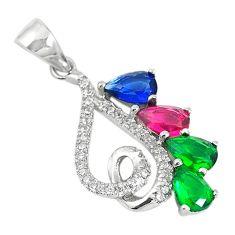 Red ruby sapphire emerald quartz 925 sterling silver pendant c22121
