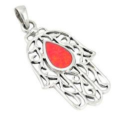 Red sponge coral 925 sterling silver hand of god hamsa pendant c12522