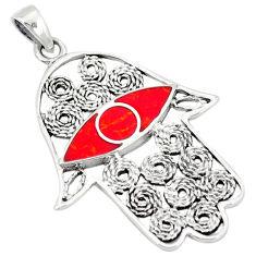 Red sponge coral 925 sterling silver hand of god hamsa pendant c12527