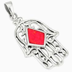 Red sponge coral enamel 925 silver hand of god hamsa pendant jewelry c12472