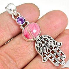1.01cts rhodochrosite inca rose 925 silver hand of god hamsa pendant r90394