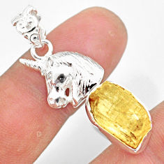 8.14cts scapolite fancy shape 925 sterling silver horse pendant jewelry r80967