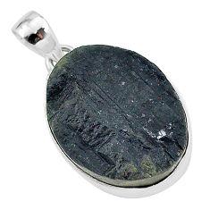 Schorl grounding black tourmaline raw 925 sterling silver pendant r96761