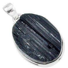 Schorl grounding black tourmaline raw 925 sterling silver pendant r96768