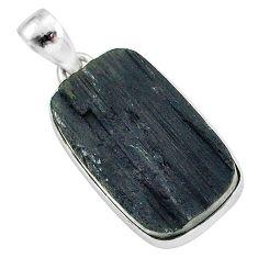 Schorl grounding black tourmaline raw 925 sterling silver pendant r96771