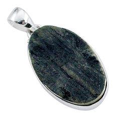 Schorl grounding black tourmaline raw 925 sterling silver pendant r96777