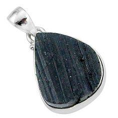Schorl grounding black tourmaline raw 925 sterling silver pendant r96780