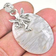 25.15cts scolecite high vibration crystal silver angel wings pendant r91150