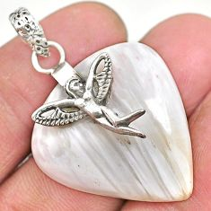 Clearance Sale- 23.81cts scolecite high vibration crystal silver angel wings pendant r91153