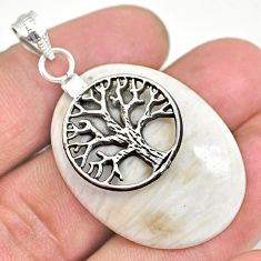 26.53cts scolecite high vibration crystal silver tree of life pendant r91157