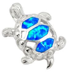 Silver blue australian opal (lab) enamel turtle pendant jewelry a74259 c24442