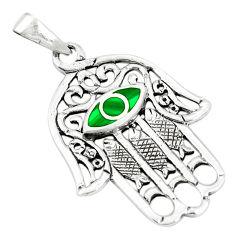 Silver green malachite (pilot's stone) hand of god hamsa pendant a79790 c13823