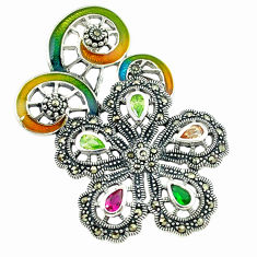 925 silver natural champagne topaz multi color enamel flower pendant c18864