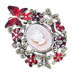 925 silver 9.81cts natural white pearl marcasite enamel lady face pendant c16436