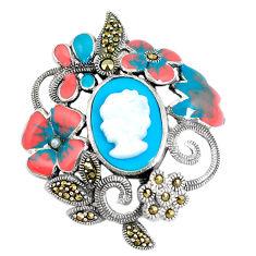 925 silver blue sleeping beauty turquoise pearl enamel lady face pendant c16497