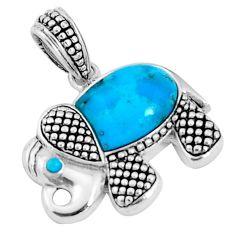 Southwestern blue arizona mohave turquoise 925 silver elephant pendant c25969