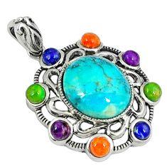 Southwestern blue arizona turquoise copper turquoise 925 silver pendant c10407