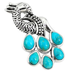 Southwestern blue copper turquoise 925 sterling silver peacock pendant c10470