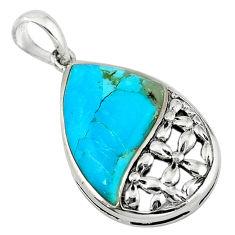 Southwestern fine blue turquoise fancy 925 sterling silver pendant c10510