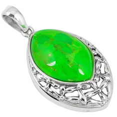 Southwestern green copper turquoise 925 silver pendant jewelry c10517