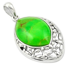 Southwestern green copper turquoise 925 sterling silver pendant c10505
