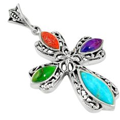 Southwestern multi color copper turquoise 925 silver holy cross pendant c25967