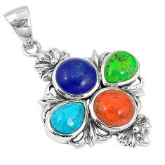 Southwestern multi color copper turquoise 925 silver pendant jewelry c10440