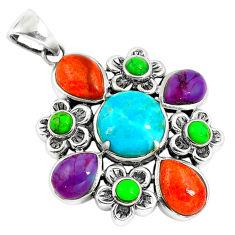 Southwestern multi color copper turquoise 925 silver pendant jewelry c10456