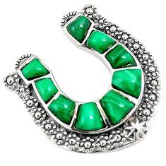 Southwestern natural green malachite (pilot's stone) 925 silver pendant c10483