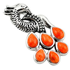 Southwestern red copper turquoise 925 sterling silver peacock pendant c10468