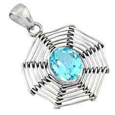 5.07cts spider web natural blue topaz 925 sterling silver pendant jewelry r67801