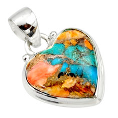13.17cts spiny oyster arizona turquoise 925 silver heart pendant r33939