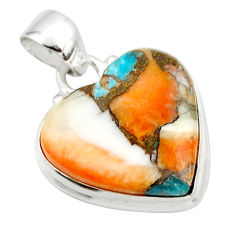 15.65cts spiny oyster arizona turquoise 925 silver heart pendant r33947