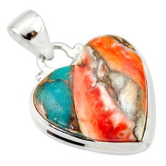 14.23cts spiny oyster arizona turquoise 925 silver heart pendant r33948