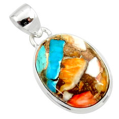 14.23cts spiny oyster arizona turquoise 925 silver pendant r34519