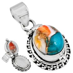5.42cts spiny oyster arizona turquoise 925 silver poison box pendant r55630