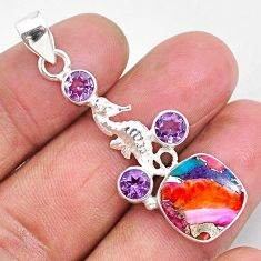 8.48cts spiny oyster arizona turquoise 925 silver seahorse pendant r93315