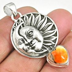 5.47cts spiny oyster arizona turquoise 925 silver sun moon face pendant r90405