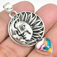 5.52cts spiny oyster arizona turquoise 925 silver sun moon face pendant r90406