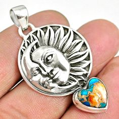 5.47cts spiny oyster arizona turquoise 925 silver sun moon face pendant r90411