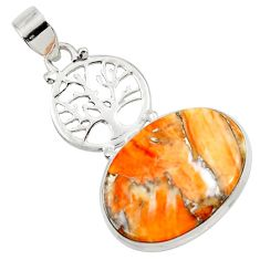 17.57cts spiny oyster arizona turquoise 925 silver tree of life pendant d45362