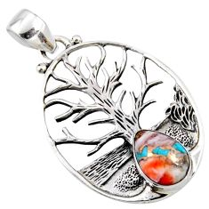 4.65cts spiny oyster arizona turquoise 925 silver tree of life pendant r52990