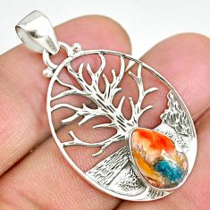 4.14cts spiny oyster arizona turquoise 925 silver tree of life pendant r90421